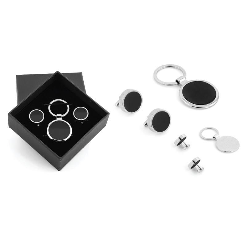 Boxed Metal Keychain Cufflink Set