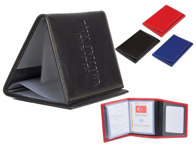 Clamshell, Artificial Leather License Container (Stitched)