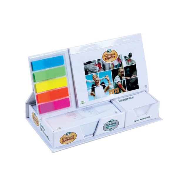 Colorful Calendar Set with Brackets and Cube Notepads