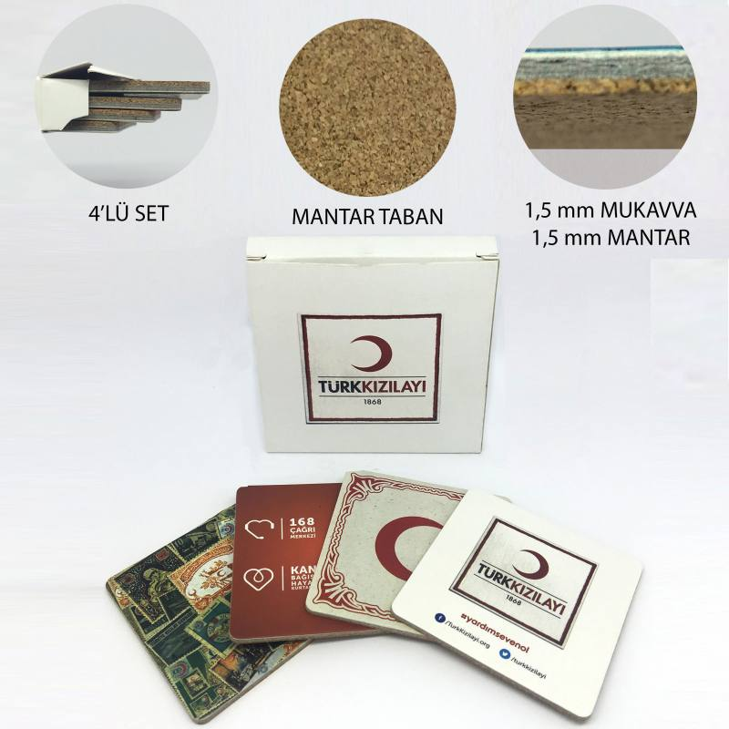 Set of 4 Cork Coasters Set