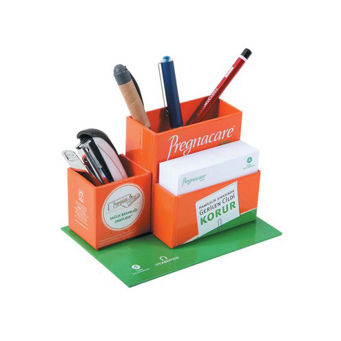 Cube Notepad with Pencil Holder and Paperclip Box