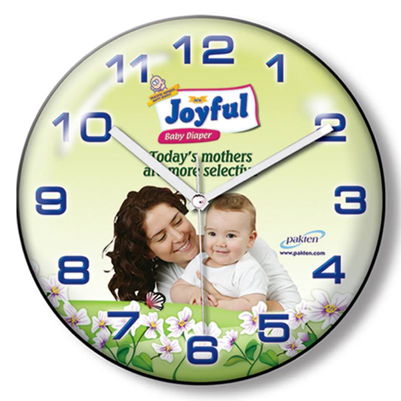 Curved Glass Round Wall ClockPromotional Wall Clock (25 cm)