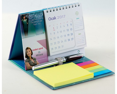 Desk Calendar with Self Adhesive Note Papers and PVC Markers