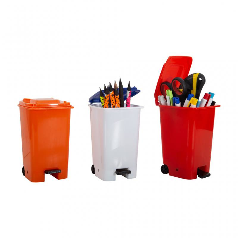 Opening Pedal Plastic Container Pen Holder
