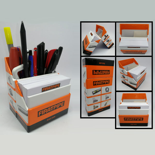 Pen holder with notepads and magnet box