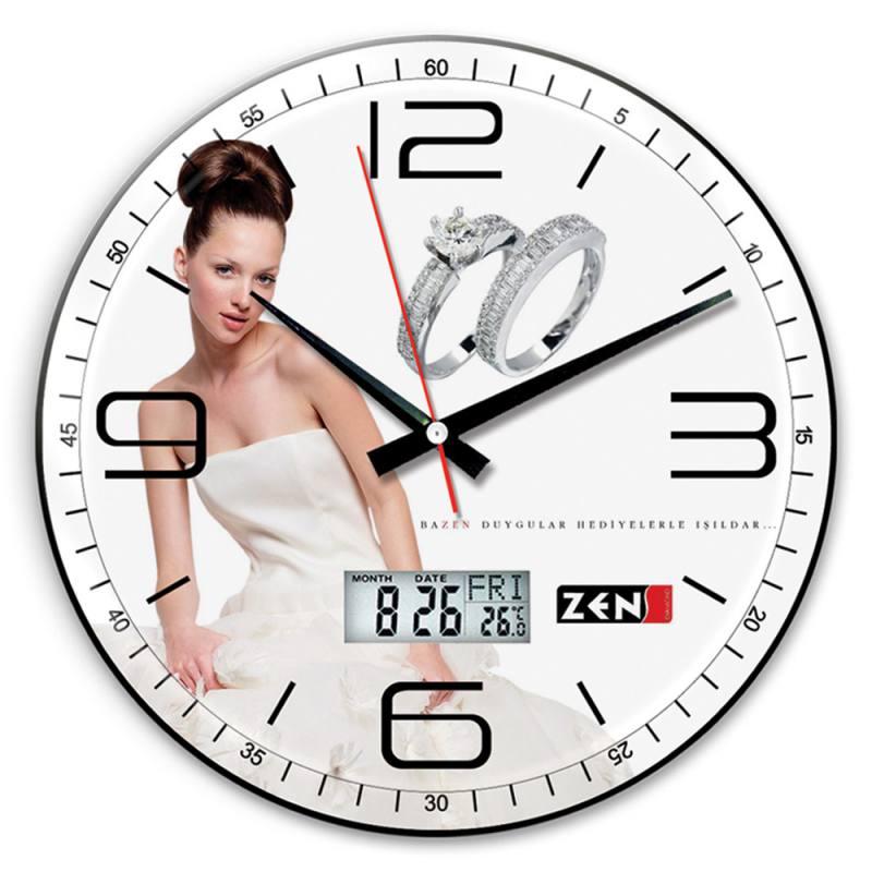 Royal Wall Clock (Curved Glass - Digital Thermometer - Calendar - 35cm)