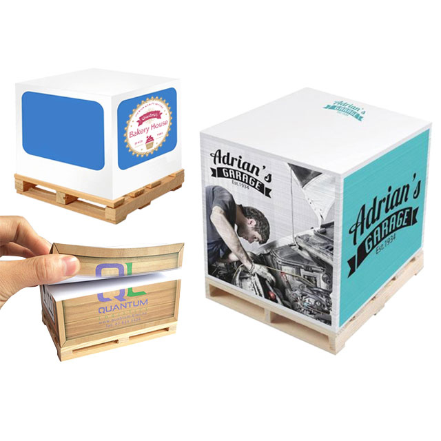 Side Printed Cube Memo Pad with Miniature Wooden Pallet