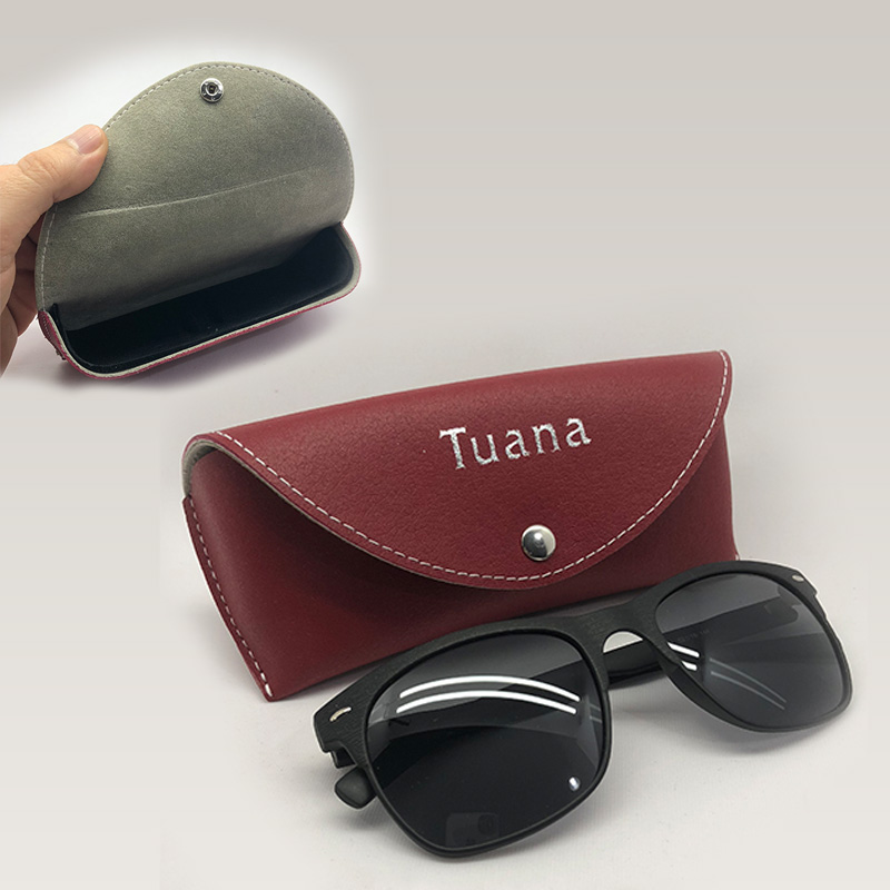 Snap Fastener Leather Glasses Case