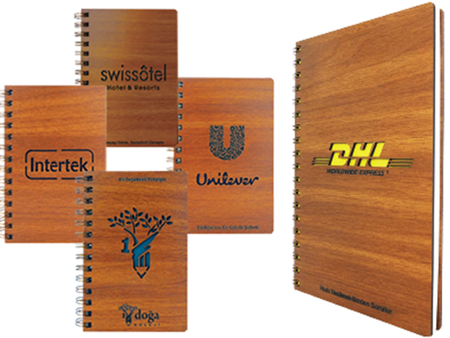Laser Logo Engraved Wooden Cover Notebook (16x23cm)