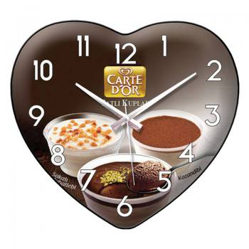 Cambered Glass Heart Shaped Wall Clock