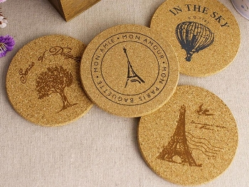 Direct Printed Round Shaped Cork Coasters