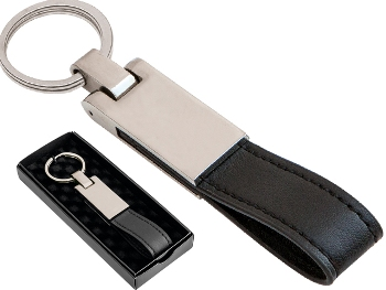 Boxed Metal and Leather Keychain
