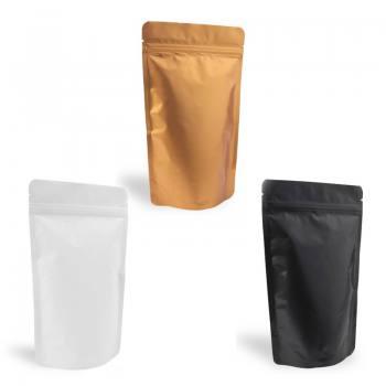 Matte White, Matte Black and Matte Gold Aluminum Ziplock Doypack