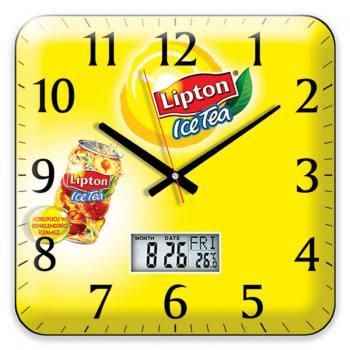 Offset Wall Clock (Digital Thermometer- Calendar - 35 x 35 cm)