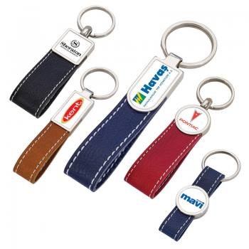 Promotional Leather Key Holder with Drop Tag