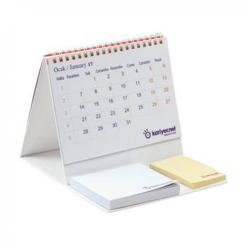 Rigid Calendar Desk Calendar with Self Adhesive Note Paper