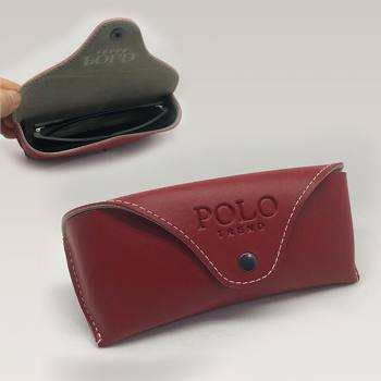 Snap Fastener Leather Glasses Case