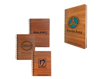 AHS-2218 - Laser Logo Engraved Wooden Cover Notebook (11 x 16 cm)