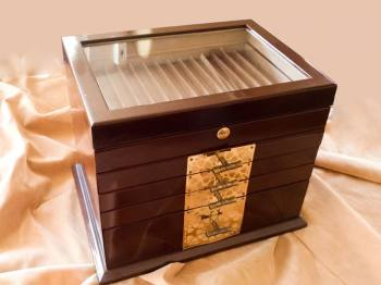 Wooden Storage Box with Drawers and Partitions